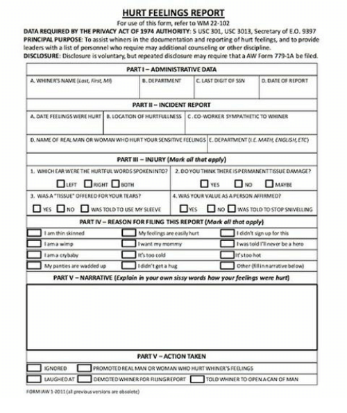 Hurt feelings report form for Hurt feelings report template