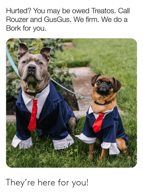 May, They, and You: Hurted? You may be owed Treatos. Call  Rouzer and GusGus. We firm. We do a  Bork for you. They're here for you!