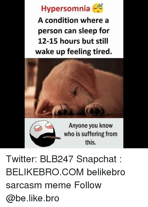 Be Like, Meme, and Memes: Hypersomnia  A condition where a  person can sleep for  12-15 hours but still  wake up feeling tired.  Anyone you know  who is suffering from  this. Twitter: BLB247 Snapchat : BELIKEBRO.COM belikebro sarcasm meme Follow @be.like.bro
