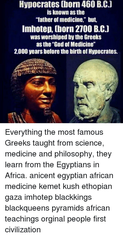 Hypocrates Born 460 BC Is Known as the Father of Medicine but