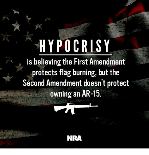 Memes, First Amendment, and Hypocrisy: HYPOCRISY  is believing the First Amendment  protects flag burning, but the  Second Amendment doesn't protect  owning an AR-15  NRA