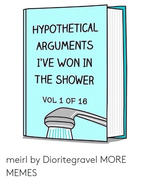 Dank, Memes, and Shower: HYPOTHETICAL  ARGUMENTS  I'VE WON IN  THE SHOWER  VOL 1 OF 16 meirl by Dioritegravel MORE MEMES