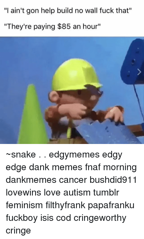 """Memes, Dank Memes, and Fuck That: """"I ain't gon help build no wall fuck that""""  """"They're paying $85 an hour"""" ~snake . . edgymemes edgy edge dank memes fnaf morning dankmemes cancer bushdid911 lovewins love autism tumblr feminism filthyfrank papafranku fuckboy isis cod cringeworthy cringe"""