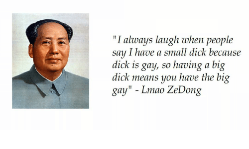 """Big Dick, Lmao, and Dick: """"I always laugh when people  say I have a small dick becau  dick is gay, so having a big  dick means you have the big  gay"""" - Lmao ZeDong  se"""