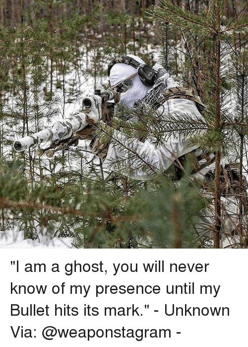 "Memes, Ghost, and Never: ""I am a ghost, you will never know of my presence until my Bullet hits its mark."" - Unknown Via: @weaponstagram -"