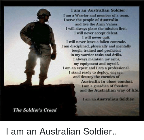 I am an australian soldier
