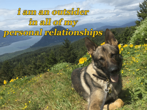 Relationships, All, and Outsider: i am an outsider  in all ofmy  persomal relationships