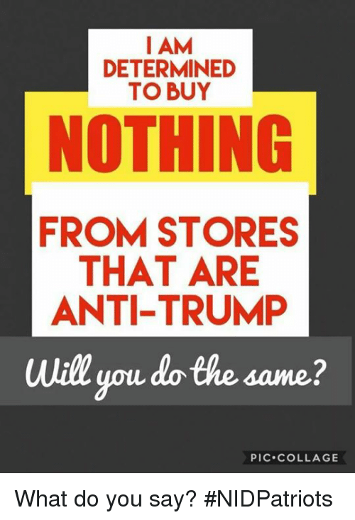 Memes, Ypu, and Collage: I AM  DETERMINED  TO BUY  NOTHING  FROM STORES  THAT ARE  ANTI-TRUMP  Will ypu do the same?  PIC.cOLLAGE What do you say? #NIDPatriots
