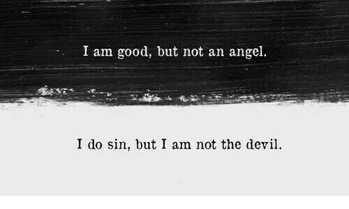Angel, Good, and Sin: I am good, but not an angel.  I do sin, but I am not the devi