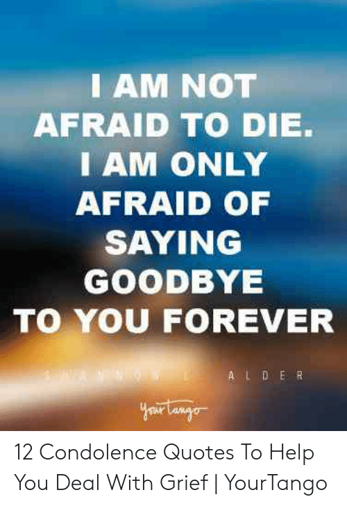 i am not afraid to die i am only afraid of saying goodbye to you