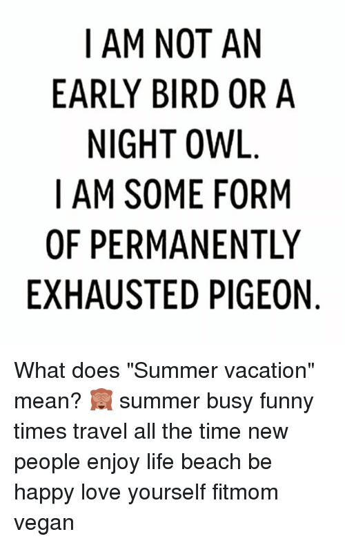I Am Not An Early Bird Or A Night Owl I Am Some Form Of Permanently