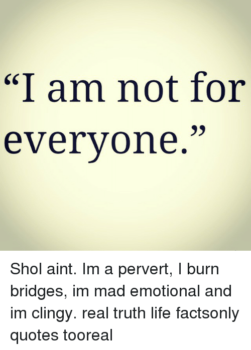 I Am Not For Everyone Shol Aint Im A Pervert I Burn Bridges Im Mad Impressive The Truth Of Life Quotes