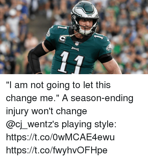 "Memes, Change, and 🤖: ""I am not going to let this change me.""  A season-ending injury won't change @cj_wentz's playing style: https://t.co/0wMCAE4ewu https://t.co/fwyhvOFHpe"