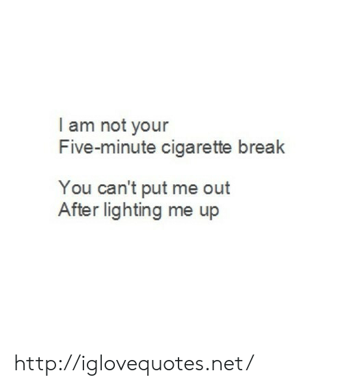 Break, Http, and Cigarette: I am not your  Five-minute cigarette break  You can't put me out  After lighting me up http://iglovequotes.net/
