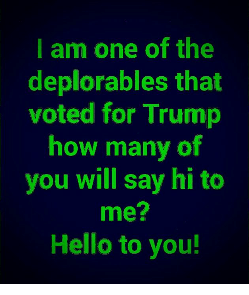 Hello, Memes, and Trump: I am one of the  deplorables that  voted for Trump  how many of  you will say hi to  me?  Hello to you!