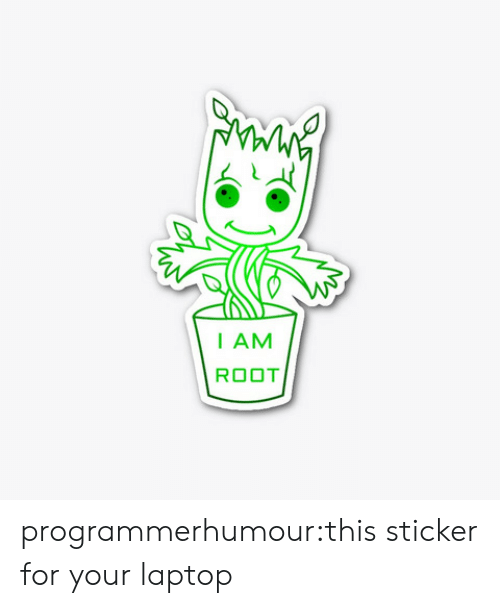 Tumblr, Blog, and Laptop: I AM  ROOT programmerhumour:this sticker for your laptop