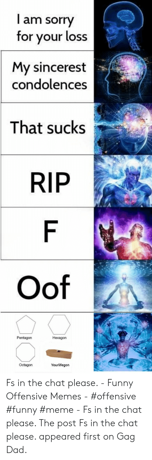Dad, Funny, and Meme: I am sorry  for your loss  My sincerest  condolences  That sucks  RIP  F  Oof  Pentagon  Hexagon  Octagon  Yourlifegon Fs in the chat please. - Funny Offensive Memes - #offensive #funny #meme - Fs in the chat please. The post Fs in the chat please. appeared first on Gag Dad.