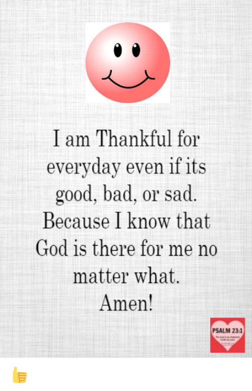 I Am Thankful for Everyday Even if Its Good Bad or Sad Because I