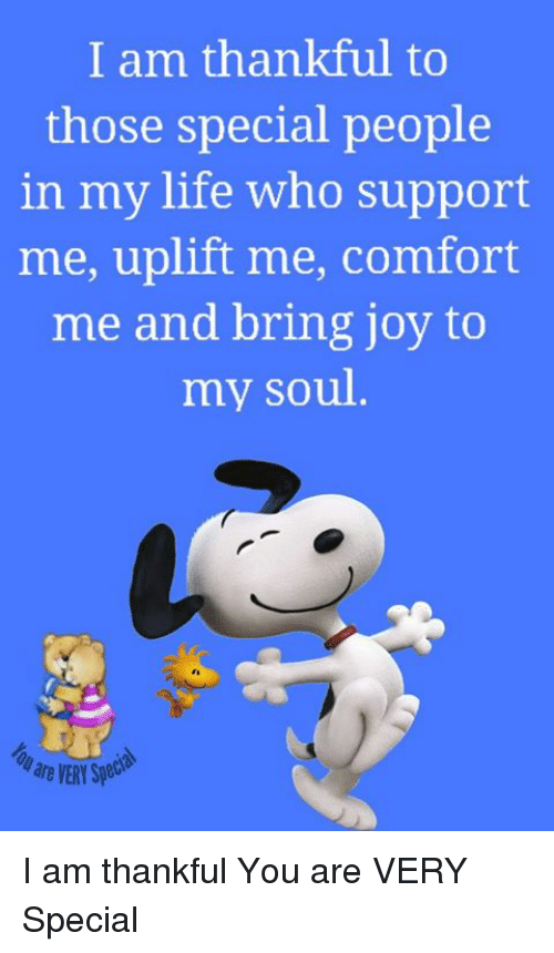 Life, Memes, and 🤖: I am thankful to  those special people  in my life who support  me, uplift me, comfort  me and bring joy to  my soul  are VERY Spe I am thankful You are VERY Special