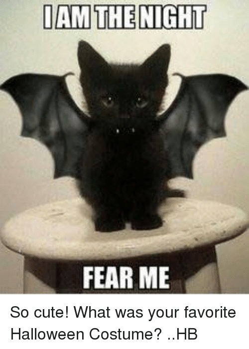 Cute, Halloween, and Memes: I AM THE NIGHT  FEAR ME So cute! What was your favorite Halloween Costume? ..HB