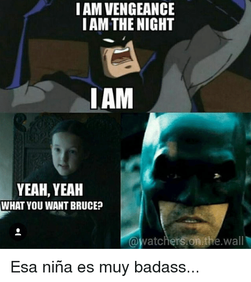 Memes, 🤖, and The Wall: I AM VENGEANCE  I AM THE NIGHT  LAM  YEAH, YEAH  WHAT YOU WANT BRUCE?  @watchers on the wall Esa niña es muy badass...