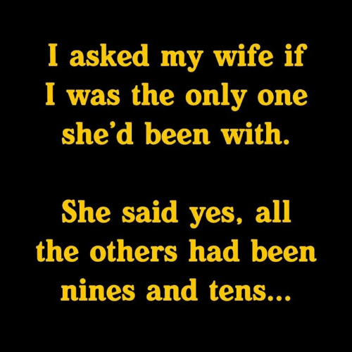 Memes, Wife, and Only One: I asked my wife if  I was the only one  she'd been with.  She said yes, all  the others had been  nines and tens...