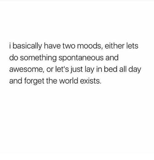 Ironic, World, and Awesome: i basically have two moods, either lets  do something spontaneous and  awesome, or let's just lay in bed all day  and forget the world exists.
