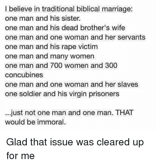 Facepalm Marriage And Sister Sister I Believe In Traditional Biblical Marriage
