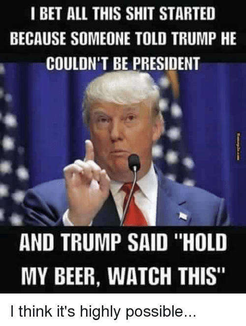 "I Bet, Memes, and 🤖: I BET ALL THIS SHIT STARTED  BECAUSE SOMEONE TOLD TRUMP HE  COULDN'T BE PRESIDENT  AND TRUMP SAID ""HOLD  MY BEER, WATCH THIS"" I think it's highly possible..."
