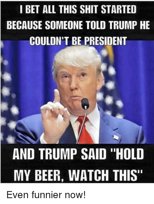 "Beer, I Bet, and Memes: I BET ALL THIS SHIT STARTED  BECAUSE SOMEONE TOLD TRUMP HE  COULDN'T BE PRESIDENT  AND TRUMP SAID ""HOLD  MY BEER, WATCH THIS"" Even funnier now!"