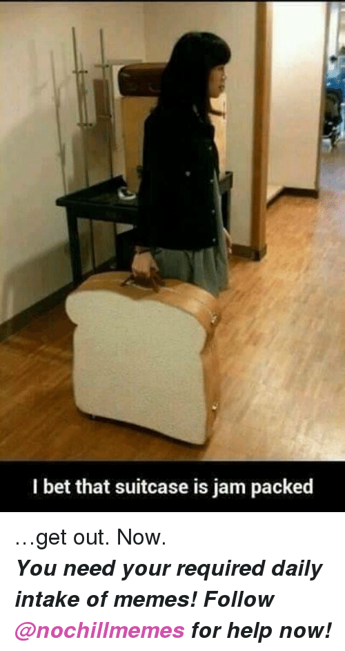 I Bet, Memes, and Help: I bet that suitcase is jam packed <p>&hellip;get out. Now. </p><p><b><i>You need your required daily intake of memes! Follow <a>@nochillmemes</a>​ for help now!</i></b><br/></p>