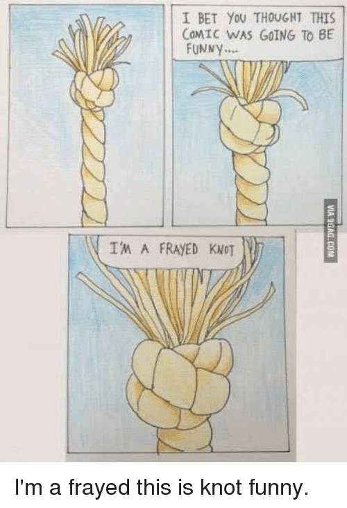 I Bet, Memes, and 🤖: I BET YOU THOUGHT THIS  COMIC WAS GOING TO BE  FUNNY  IM A FRAYED KNOT I'm a frayed this is knot funny.