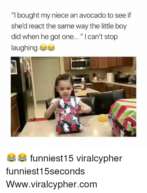 "Funny, Avocado, and Boy: ""I bought my niece an avocado to see if  she'd react the same way the little boy  did when he got one..."" I can't stop  laughing 부부 😂😂 funniest15 viralcypher funniest15seconds Www.viralcypher.com"