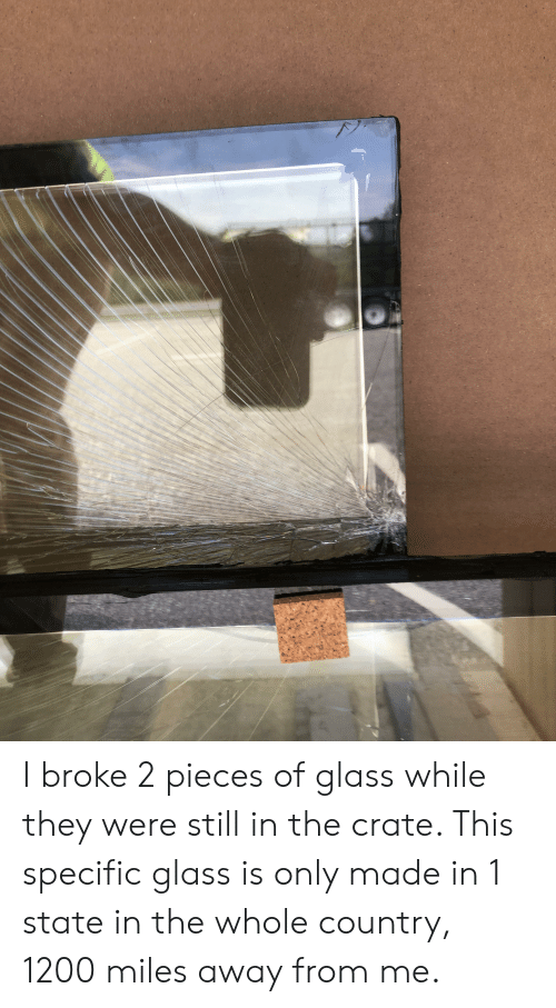 Glass, They, and Still: I broke 2 pieces of glass while they were still in the crate. This specific glass is only made in 1 state in the whole country, 1200 miles away from me.