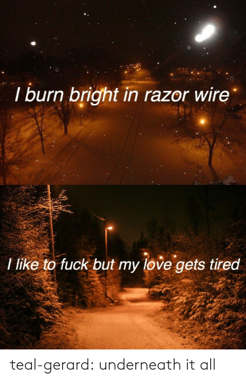 Love, Tumblr, and Blog: I burn bright in razor wire   I like to fuck but my love gets tired teal-gerard: underneath it all