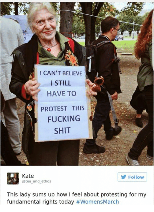 Memes, 🤖, and Ethos: I CAN'T BELIEVE  I STILL  HAVE TO  PROTEST THIS  FUCKING  SHIT  Kate  Follow  @tea and ethos  This lady sums up how l feel about protesting for my  fundamental rights today