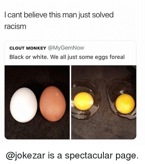 Racism, Black, and Black or White: I cant believe this man just solved  racism  CLOUT MONKEY @MyGemNow  Black or white. We all just some eggs foreal @jokezar is a spectacular page.