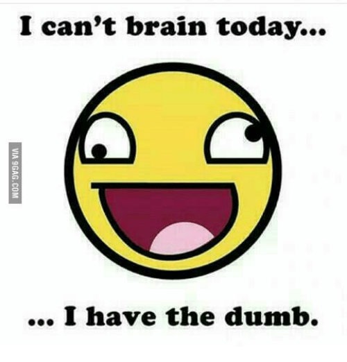 Brains, Dumb, and  I Cant: I can't brain today...  I have the dumb.