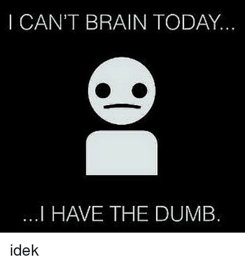 Dumb, Adhd, and Brain: I CAN'T BRAIN TODAY..  ...I HAVE THE DUMB