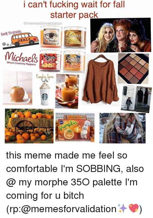 Bitch, Comfortable, and Fall: i can't fucking wait for fall  starter pack  @memesforvalidation  BACK-TO-SCHOOL  EALSu  2  DEALS  Michaels  Where Creativity Happens  Pmpkin Spice  atte  24 this meme made me feel so comfortable I'm SOBBING, also @ my morphe 35O palette I'm coming for u bitch (rp:@memesforvalidation✨💖)