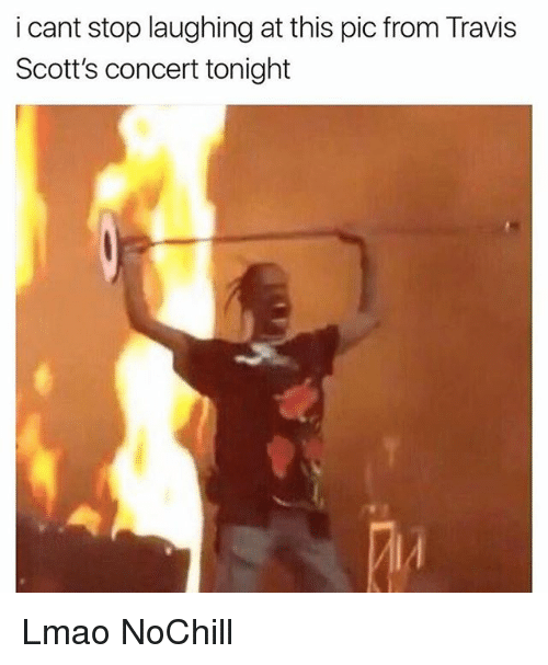 Funny, Lmao, and Travis: i cant stop laughing at this pic from Travis  Scott's concert tonight Lmao NoChill