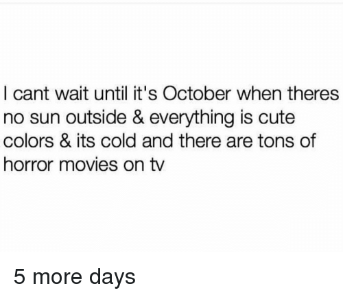 Cute, Movies, and Horror Movies: I cant wait until it's October when theres  no sun outside & everything is cute  colors & its cold and there are tons of  horror movies on tv 5 more days