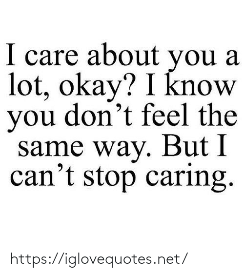 Okay, Net, and You: I care about you a  lot, okay? I know  you don't feel the  same way. But I  can't stop caring. https://iglovequotes.net/