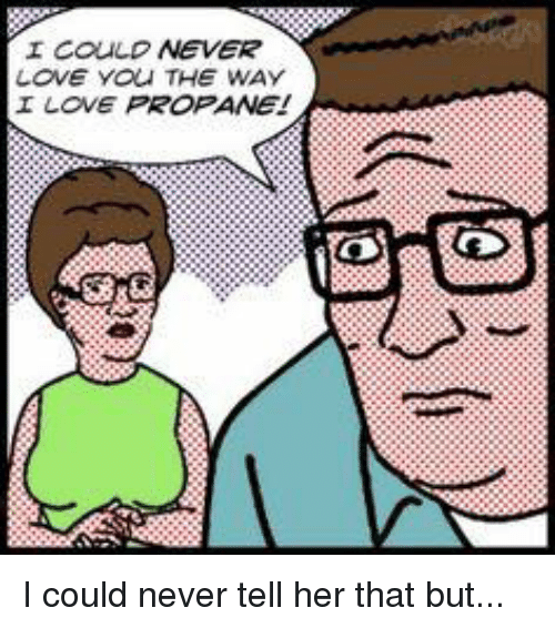 Memes, 🤖, and Propane: I COULD  NEVER  LOVE YOU THE WAY  I LOVE PROPANE! I could never tell her that but...
