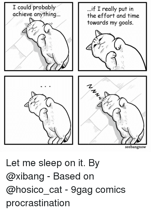 """9gag, Goals, and Memes: I could probably  achieve anything  ..if I really put in  the effort and time  towards my goals.  1,  """"护  seebangnow Let me sleep on it.⠀ By @xibang⠀ -⠀ Based on @hosico_cat⠀ -⠀ 9gag comics procrastination"""