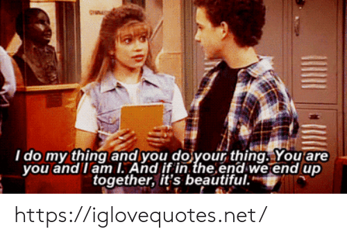 Beautiful, Net, and Thing: I do my thing and you do your thing. You are  you and lam I. And if in the end we end up  together, it's beautiful. https://iglovequotes.net/