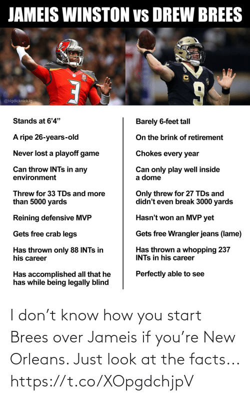 Facts, Football, and Nfl: I don't know how you start Brees over Jameis if you're New Orleans. Just look at the facts... https://t.co/XOpgdchjpV
