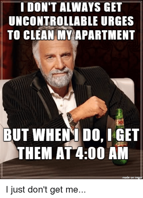 I DON\'T ALWAYS GET UNCONTROLLABLE URGES TO CLEAN MY APARTMENT BUT ...