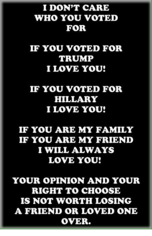 I Dont Care Who You Voted For If You Voted For Trump I Love You If