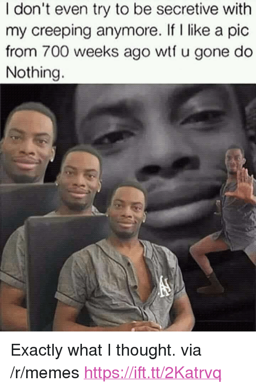 """Memes, Wtf, and Thought: I don't even try to be secretive with  my creeping anymore. If I like a pic  from 700 weeks ago wtf u gone do  Nothing. <p>Exactly what I thought. via /r/memes <a href=""""https://ift.tt/2Katrvq"""">https://ift.tt/2Katrvq</a></p>"""